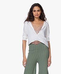 Majestic Filatures Tunisien Linen Cropped Sleeve T-shirt - White