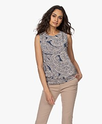 no man's land Printed Viscose Top - Denim