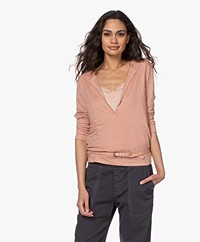 Majestic Filatures Tunisien Linen Cropped Sleeve T-shirt - Tan