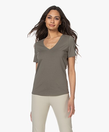 Repeat Stretch Cotton V-neck T-shirt - Khaki