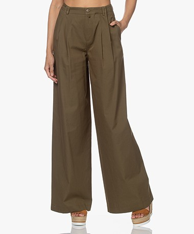 Drykorn Elate Cotton and Viscose Pleated Pants - Khaki