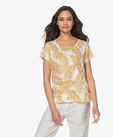 no man's land Linen V-neck Printed T-shirt - Ochre
