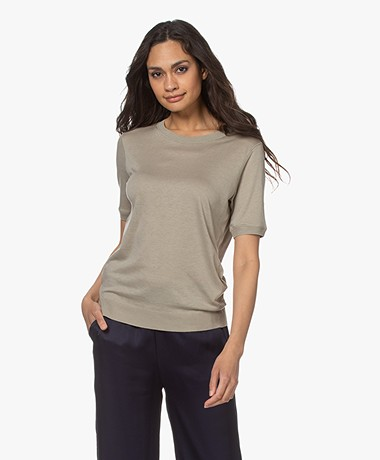 Repeat Lyocell Blend Short Sleeve Sweater - Pepper