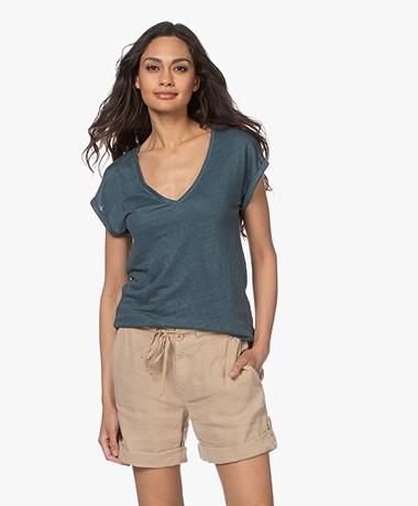 by-bar Mila Linnen V-hals T-shirt - Oil Blue
