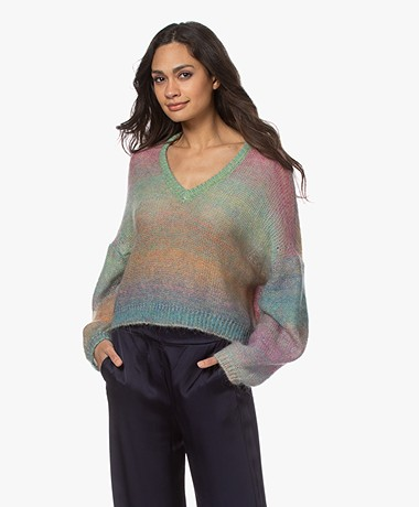 Mes Demoiselles Reflection Mohair Blend V-neck Sweater - Multi-color