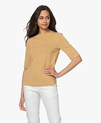 LaSalle Short Sleeve Boat Neck Sweater - Gold