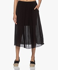 by-bar Lola Crinkle Viscose Midi Rok - Zwart