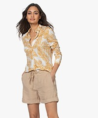 no man's land Linen Blend Jersey Print Blouse - Ochre