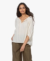 Drykorn Lilliane Striped Cotton Blouse - Papyrus