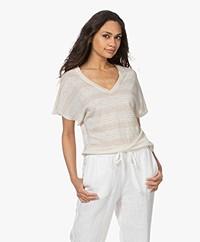 Josephine & Co Lette Striped Linen T-shirt - Sand