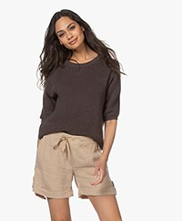 Belluna Chili Cotton Short Sleeve Sweater - Brown