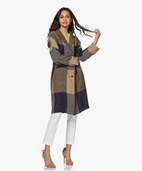 Pomandère Linen Checkered Blazer Coat  - Indaco