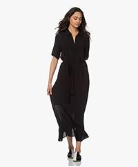 by-bar Liz Crinkle Viscose Maxi Shirt Dress - Black