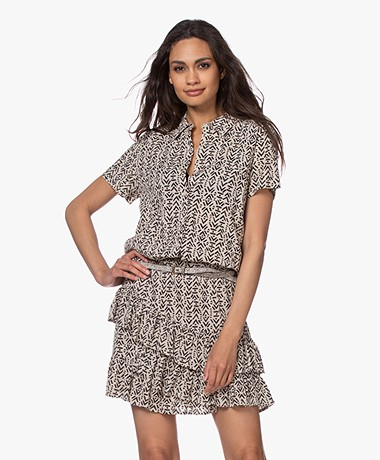 indi & cold Viscose Short Sleeve Blouse with Print - Tapioca