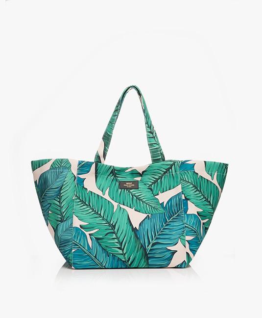 WOUF Tropical XL Shopper - Groen/Off-white