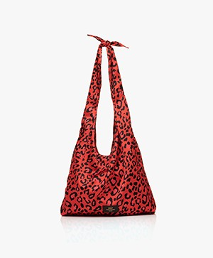 WOUF Leopard Satijnen Shopper - Rood