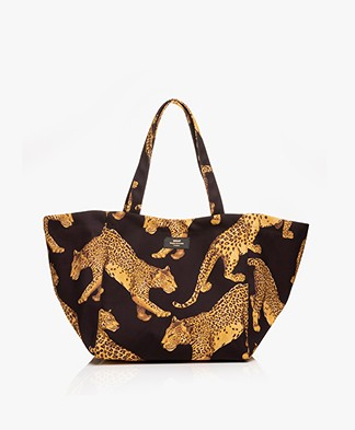 WOUF Black Leopard XL Totebag - Black