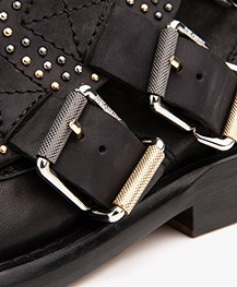 Zadig & Voltaire Laureen Flap Studs Leather Ankle Boots - Black