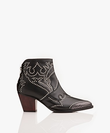 Zadig & Voltaire Cara Stud Leather Ankle Boots - Black