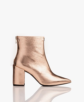 Zadig & Voltaire Glimmer Leather Ankle Boots - Cuivre