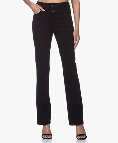 Closed Leaf Flared Stretch Jeans - Black