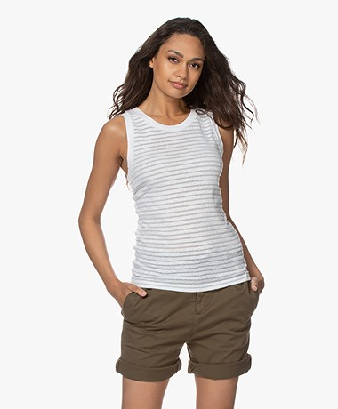 Drykorn Olina Burn-out Gestreepte Tanktop - Off-white