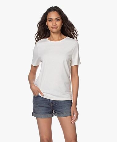 Closed Katoen-linnen Print T-shirt - Linen White