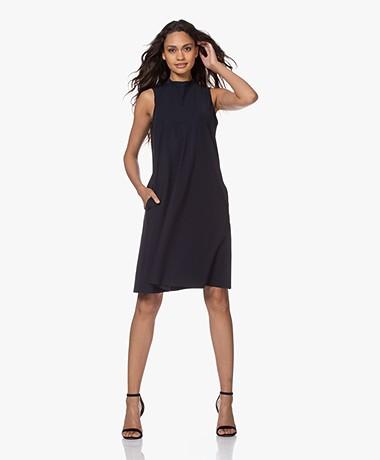JapanTKY Amya Travel Jersey Sleeveless A-line Dress - Blue Black