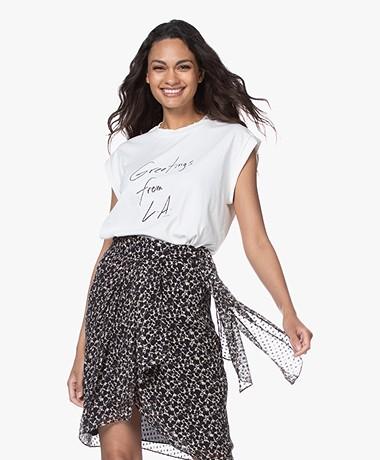 FRAME Slouchy Rolled T-shirt met Print - Vintage Wit