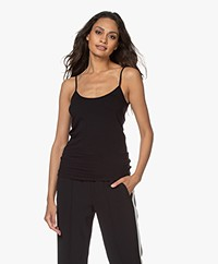 Majestic Filatures Anais Soft Touch Jersey Spaghetti Strap Top - Black