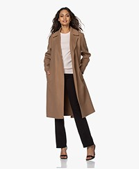 Closed Bale Double-face Wool Blend Coat - Clay