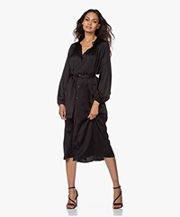 Resort Finest Festa Satin Shirt Dress - Black