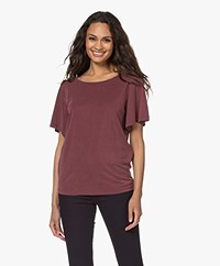 Plein Publique La Vie Modal Blend Butterfly Sleeve T-shirt - Wine