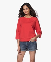 no man's land Sweater with Cropped Sleeves - Red