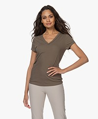 Joseph V-neck T-shirt in Japanese Cotton - Khaki