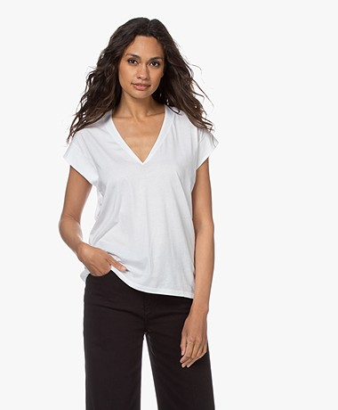 FRAME Le Mid Rise V-hals T-shirt - Wit