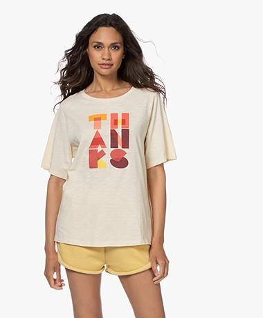 ba&sh Vanae Cotton Print T-shirt - Ecru