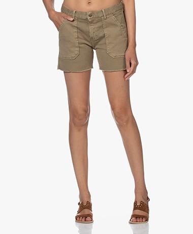 ba&sh Cselby Cotton Denim Shorts - Kaki