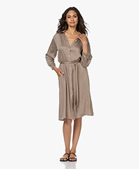 Plein Publique Le Soleil Viscose Printed Shirt Dress - Brown/White/Black