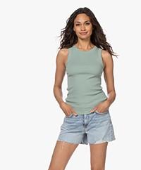 Drykorn Olina Cotton Rib Jersey Tank Top - Sage Green
