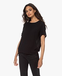 by-bar Sera Crinkle-Viscose Blouse with Short Sleeves - Black