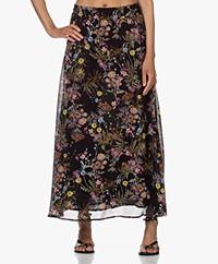 Drykorn Gasira Floral Print Viscose Skirt - Black