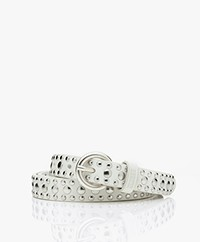 Closed Leather Belt with Studs - Ivory
