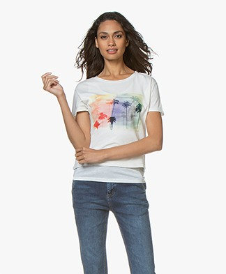 Ragdoll LA Cropped Tee with Palm Print - Rainbow Palm