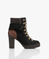 See By Chloé Eileen Nubuck Leather Ankle Boots - Black/Brown