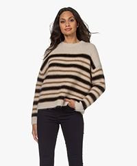 Pomandère Striped Mohair Blend Sweater - Olive Green