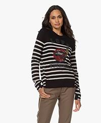 Zadig & Voltaire Source Stripes Cashmere Trui - Zwart