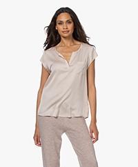 Repeat Silk Cap Sleeve Blouse - Beige