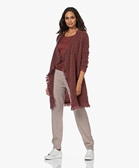 no man's land Mohair Blend Open Fringed Cardigan - Wine