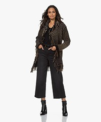 LaSalle Open Moss Knit Cardigan with Fringes - Black/Greige